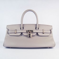 Hermes Handbags Birkin 42 CM Grey Cowhide Leather Gold Hardware Bag