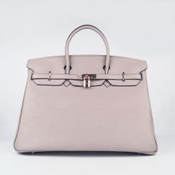 Hermes Handbags Birkin 40CM H6099 Grey Cowhide Leather Gold Hardware Bag