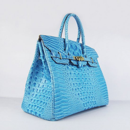 Hermes Handbags Birkin 35 CM Light Blue Crocodile Scalp Bag - Click Image to Close