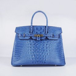 Hermes Handbags Birkin 35 CM Dark Blue Crocodile Scalp Bag