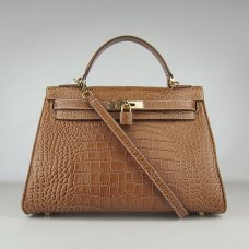 Hermes Handbags Kelly 32 CM Brown Crocodile Leather Gold Hardware Bag