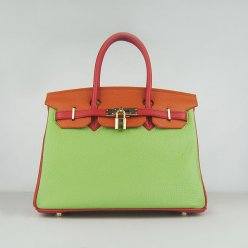 Hermes Handbags Birkin 30 CM Red Orange Green Lichee Pattern Bag