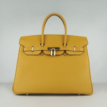 Hermes Handbags Birkin 35 CM Yellow Cow Neck Leather Bag