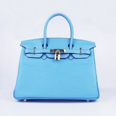 Hermes Handbags Birkin 30 CM Light Blue Lichee Pattern Bag