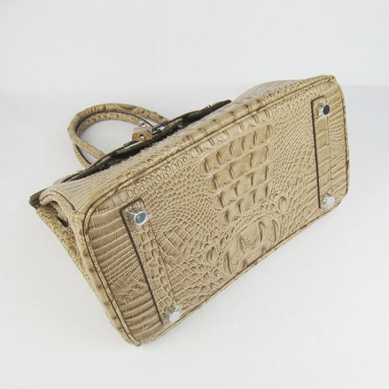 Hermes Handbags Birkin 30 CM Apricot Crocodile Scalp Bag - Click Image to Close
