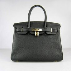 Hermes Handbags Birkin 30 CM Black Lichee Pattern Bag