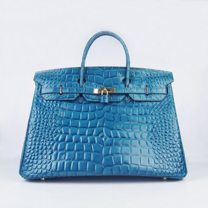 Hermes Handbags Birkin 40CM H6099 Blue Crocodile Stripe Leather Gold Hardware Bag
