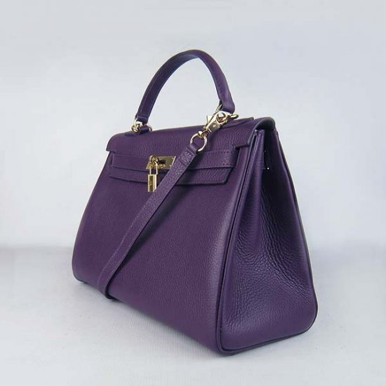 Hermes Handbags Kelly 32 CM Purple Lichee Pattern Leather Gold Hardware Bag - Click Image to Close