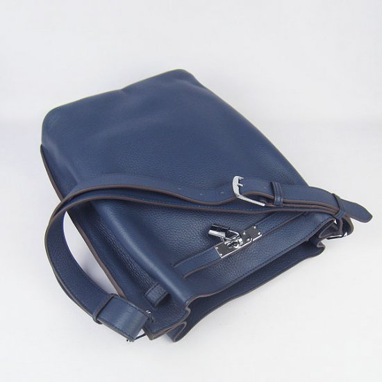 Hermes Handbags Picotin Herpicot Dark Blue Cowskin Leather Silver Hardware Bag - Click Image to Close
