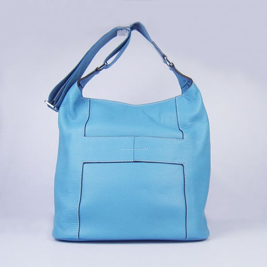 Hermes Handbags Picotin H2801 Light Blue Cowskin Leather Silver Hardware Bag - Click Image to Close