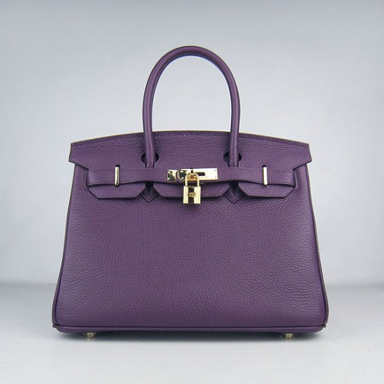 Hermes Handbags Birkin 30 CM Purple Lichee Pattern Bag - Click Image to Close