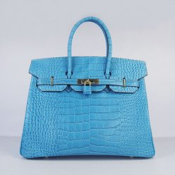 Hermes Handbags Birkin 35 CM Light Blue Crocodile Bag