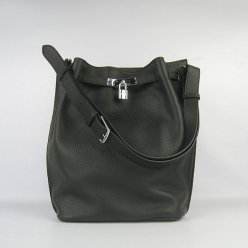 Hermes Handbags Picotin Herpicot 24cm Black Cowskin Leather Silver Hardware Bag