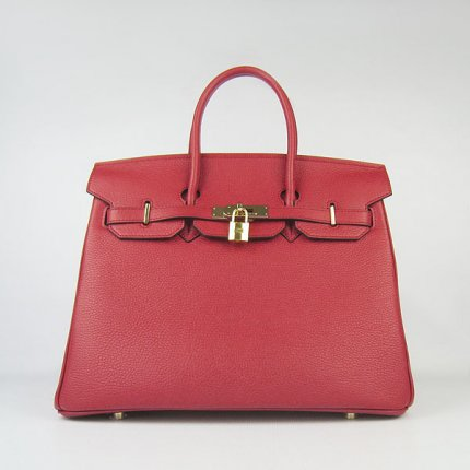 Hermes Handbags Birkin 35 CM Red Cow Neck Leather Bag