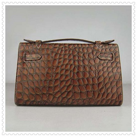 Hermes Handbags Kelly 22CM Dark Brown Fish Stripe Leather Silver Hardware Bag - Click Image to Close