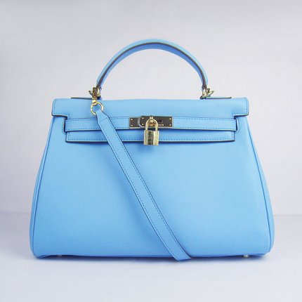 Hermes Handbags Kelly 32 CM Blue Smooth Premium Leather Gold Hardware Bag