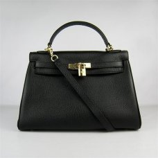 Hermes Handbags Kelly 32 CM Black Lichee Pattern Leather Gold Hardware Bag