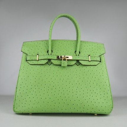 Hermes Handbags Birkin 35 CM Green Ostrich Stripe Bag