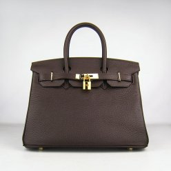 Hermes Handbags Birkin 30 CM Dark Brown Lichee Pattern Bag