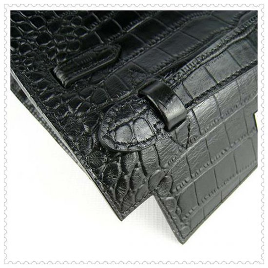 Hermes Handbags Kelly 22CM Black Crocodile Leather Silver Hardware Bag - Click Image to Close