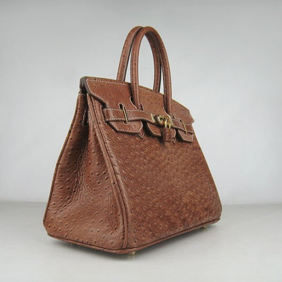Hermes Handbags Birkin 30 CM Brown Ostrich Stripe Bag - Click Image to Close