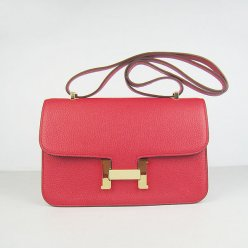 Hermes Handbags Constance Red Cowhide Leather Gold Hardware Bag