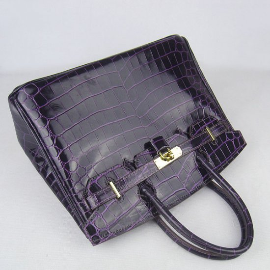 Hermes Handbags Birkin 30 CM Purple New Crocodile Veins Bag - Click Image to Close