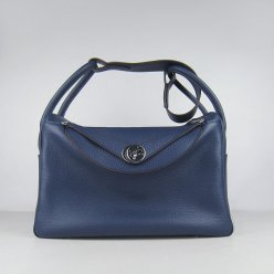 Hermes Handbags Lindy Dark Blue Cowskin Leather Silver Hardware Bag