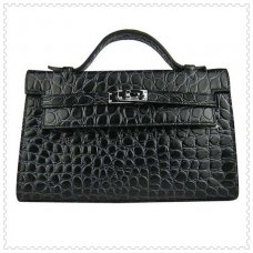 Hermes Handbags Kelly 22CM Black Fish Stripe Leather Silver Hardware Bag