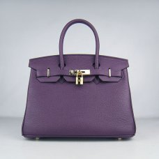 Hermes Handbags Birkin 30 CM Purple Lichee Pattern Bag