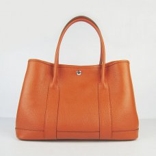 Hermes Handbags Garden Party H2808 Orange Cowskin Leather Silver Hardware Bag