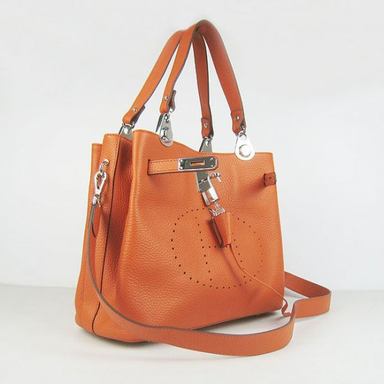 Hermes Handbags Picotin Herpicot Orange Cowskin Leather Silver Hardware Bag - Click Image to Close