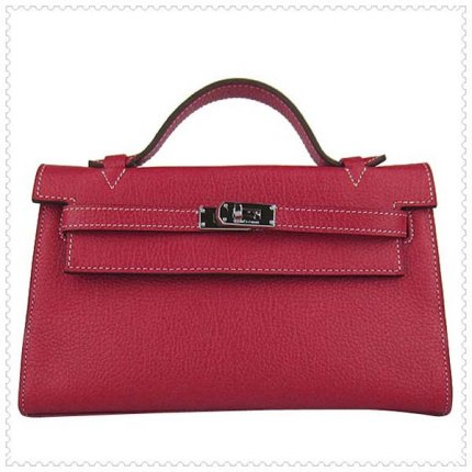Hermes Handbags Kelly 22CM Red Lichee Stripe Leather Silver Hardware Bag