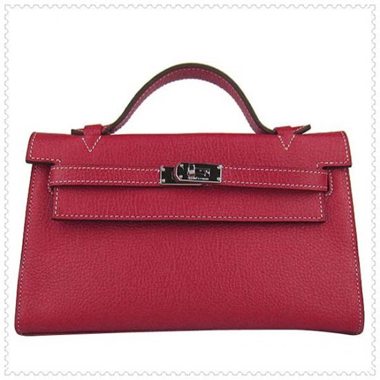 Hermes Handbags Kelly 22CM Red Lichee Stripe Leather Silver Hardware Bag - Click Image to Close