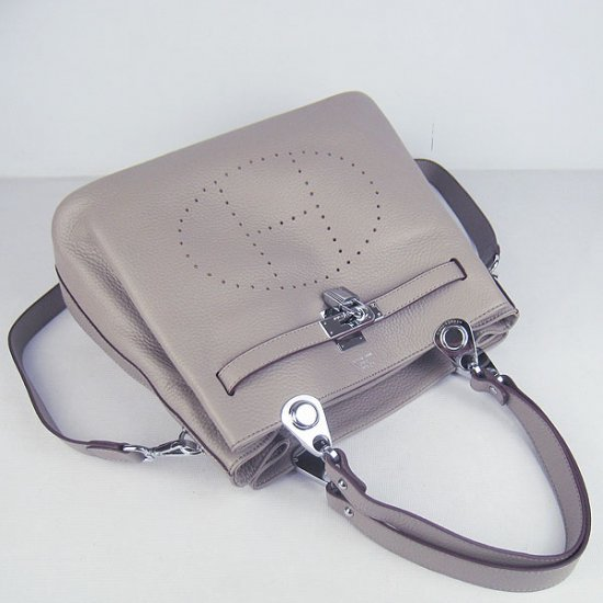 Hermes Handbags Picotin Herpicot Grey Cowskin Leather Silver Hardware Bag - Click Image to Close