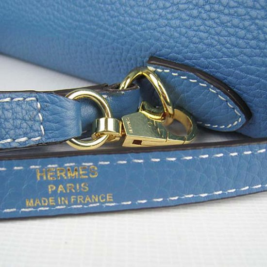 Hermes Handbags Kelly 32 CM Blue Lichee Pattern Leather Gold Hardware Bag (with white stitching) - Click Image to Close
