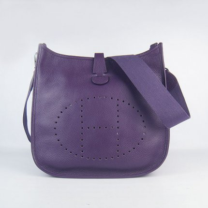 Hermes Handbags Evelyne III Purple Cowskin Leather Silver Hardware Bag