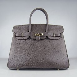Hermes Handbags Birkin 35 CM Dark Gray Ostrich Stripe Bag