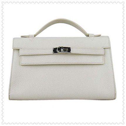 Hermes Handbags Kelly 22CM White Lichee Stripe Leather Silver Hardware Bag