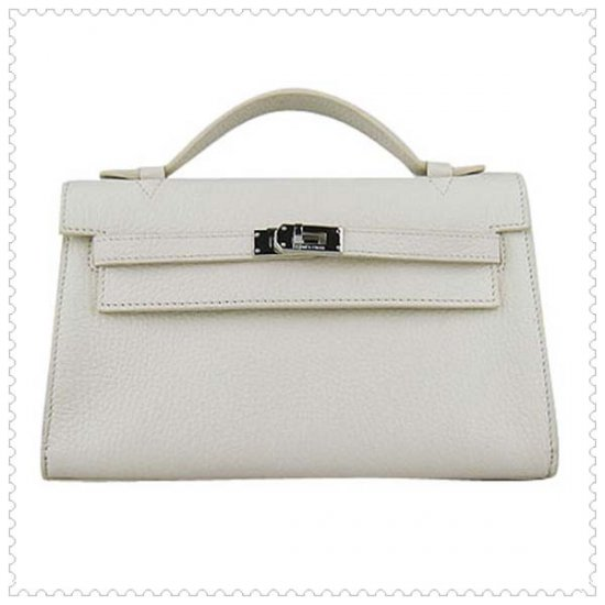 Hermes Handbags Kelly 22CM White Lichee Stripe Leather Silver Hardware Bag - Click Image to Close