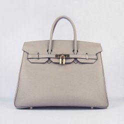 Hermes Handbags Birkin 35 CM Gray Cow Neck Leather Bag