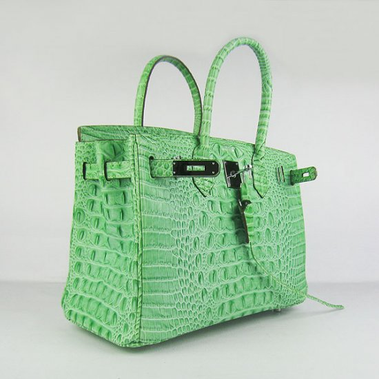 Hermes Handbags Birkin 30 CM Green Crocodile Scalp Bag - Click Image to Close