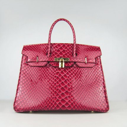 Hermes Handbags Birkin 35CM H6089 Red Fish Stripe Leather Gold Hardware Bag