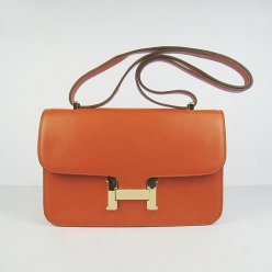 Hermes Handbags Constance Orange Cowskin Leather Gold Hardware Bag