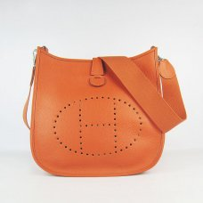 Hermes Handbags Evelyne III Orange Cowskin Leather Silver Hardware Bag
