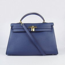 Hermes Handbags Kelly 35 CM Dark Blue Cowskin Leather Gold Hardware Bag