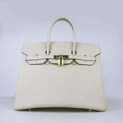Hermes Handbags Birkin 35CM H6089 Beige Pearl Stripe Leather Gold Hardware Bag