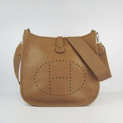 Hermes Handbags Evelyne III Brown Cowskin Leather Silver Hardware Bag