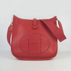 Hermes Handbags Evelyne III Red Cowskin Leather Silver Hardware Bag