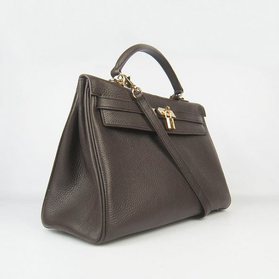Hermes Handbags Kelly 35 CM Dark Brown Cowskin Leather Gold Hardware Bag - Click Image to Close